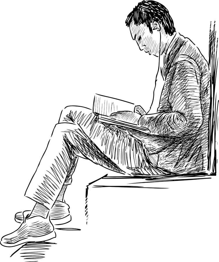 Student reading vector illustration