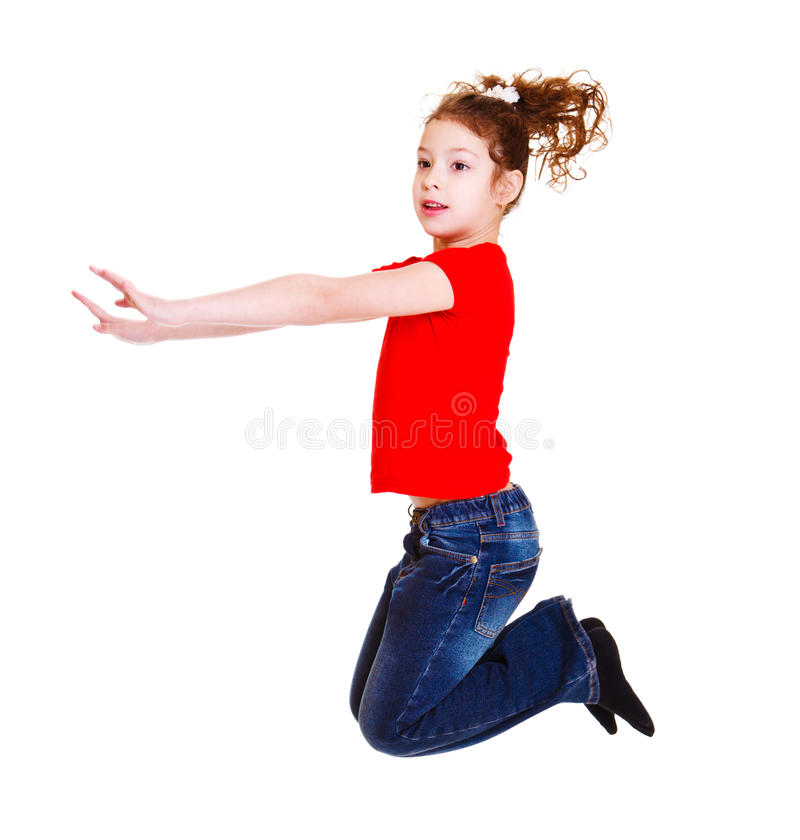 Student in red jumping