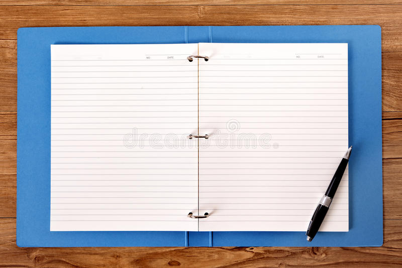 Student desk writing book ring binder pen copy space stock image