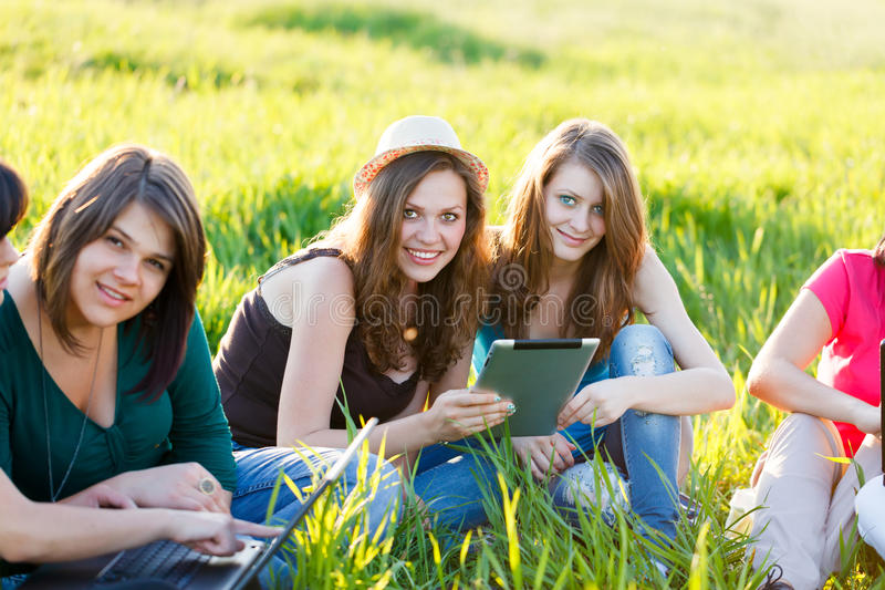 Student's Working On Laptops and Tablet royalty free stock photo