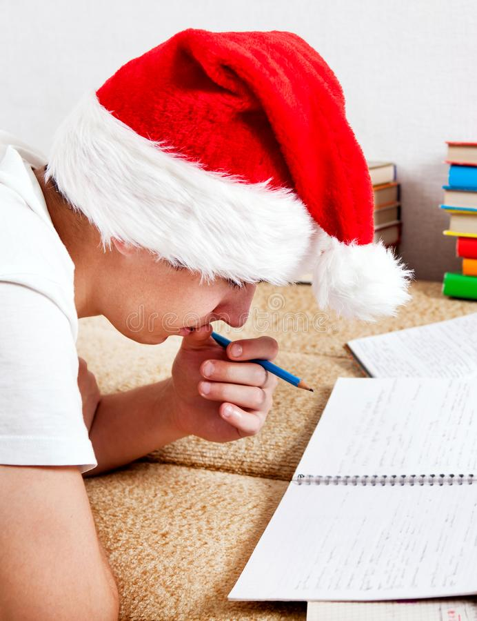 Student in Santa Hat royalty free stock image