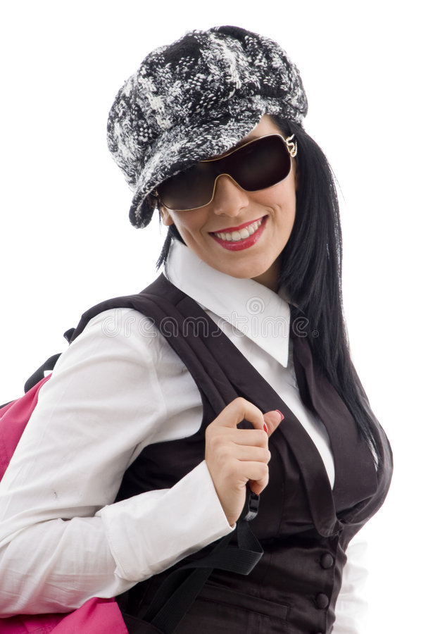 Student with school bag royalty free stock photos