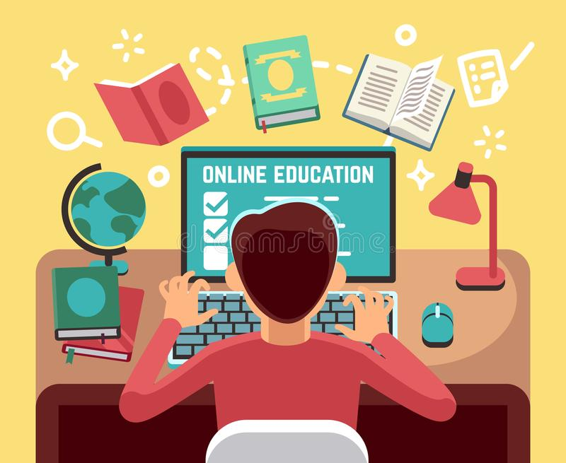 Student or school boy studying on computer. Online lesson and education vector concept vector illustration