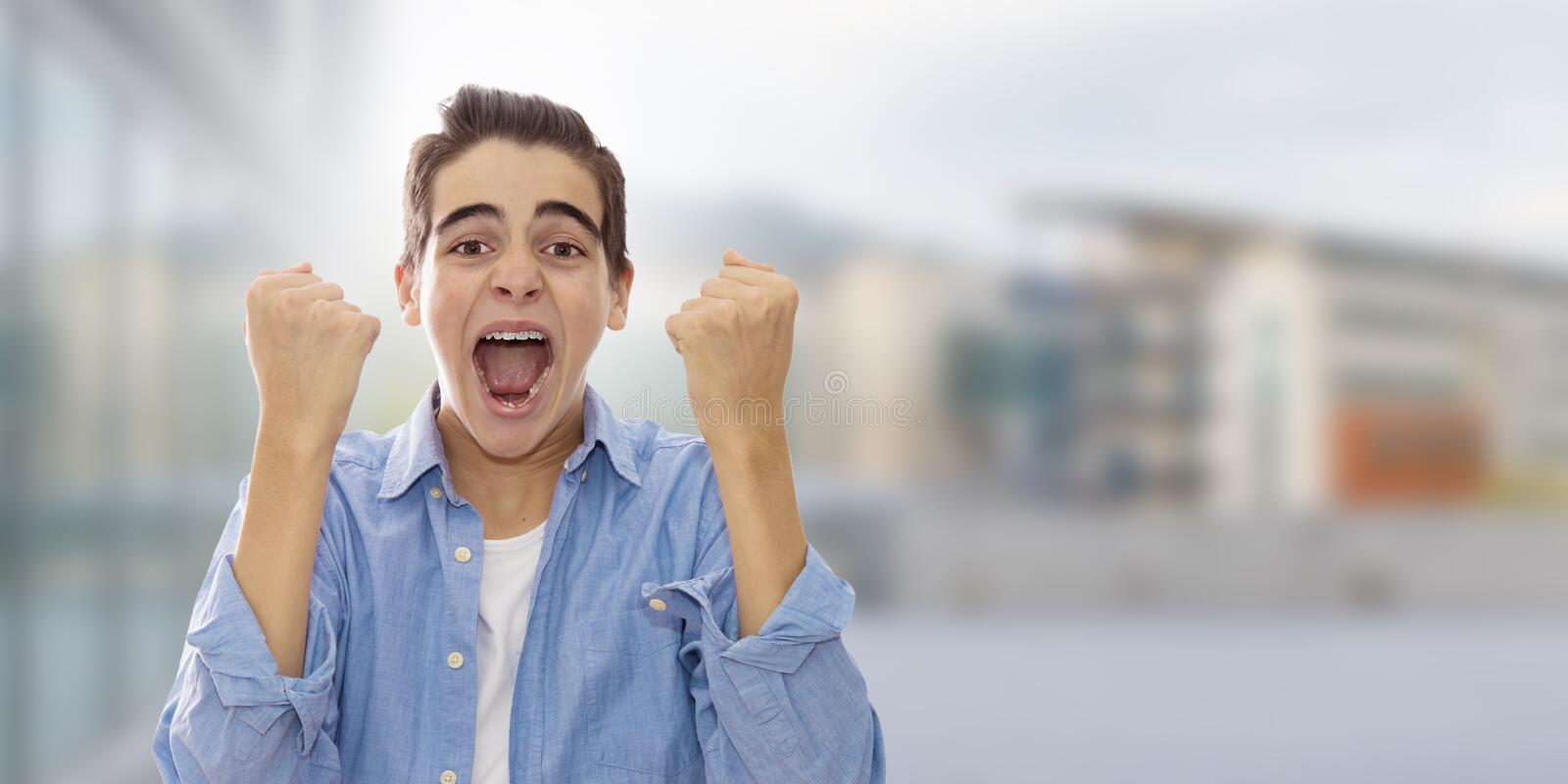 Student screaming euphoric stock images