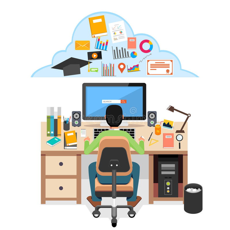 Student searching education material on internet. Student studying at his desk with computer. E-learning concept illustration