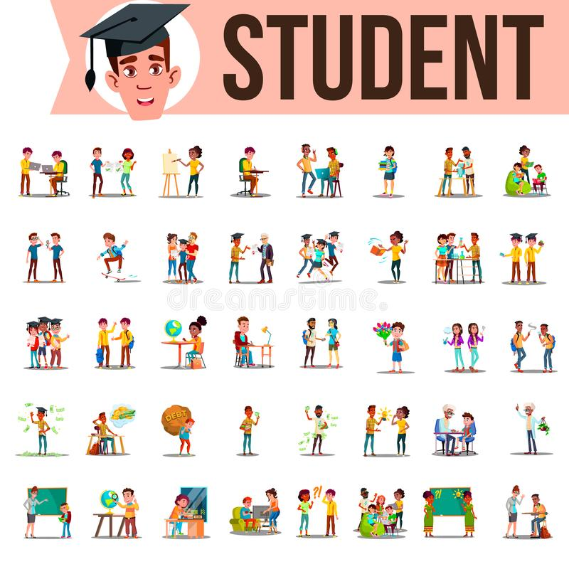 Student Set Vector. Lifestyle Situations. Spending Time, At College, University, Campus, School, Home, Outdoor. Isolated. Student Set Vector. Lifestyle stock illustration
