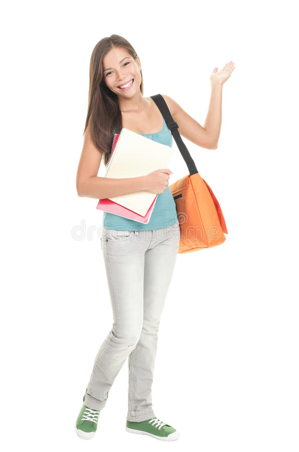 Student showing copy space on white royalty free stock photos