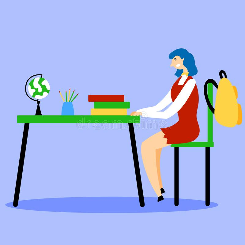 The student is sitting at a desk in the classroom vector illustration