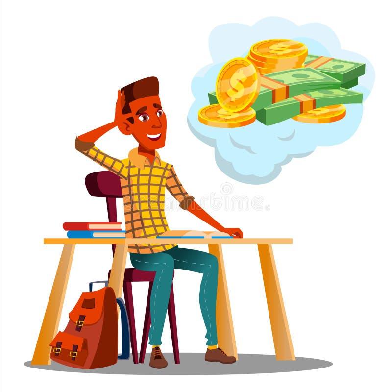 Student Sitting At Table med böcker och tänka om pengarvektor isolerad knapphandillustration skjuta s-startkvinnan royaltyfri illustrationer