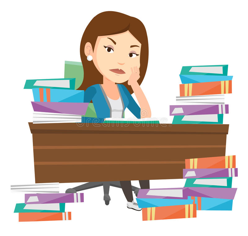 Student sitting at the table with piles of books. stock illustration