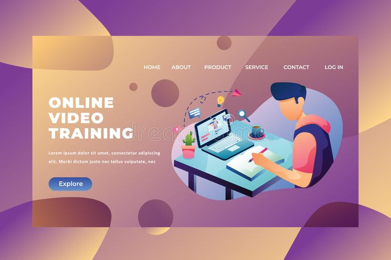 Student Sitting and Working the Homework Using Online Video Training - Web Page Header Landing Page Template Illustration vector illustration