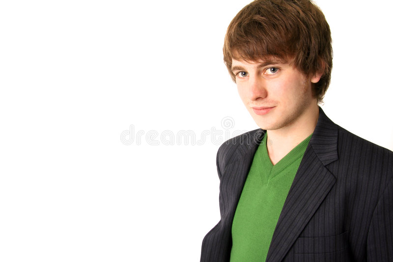 Student smiling. Young male student or businessman showing smiling. boy in suit isolated on white stock image