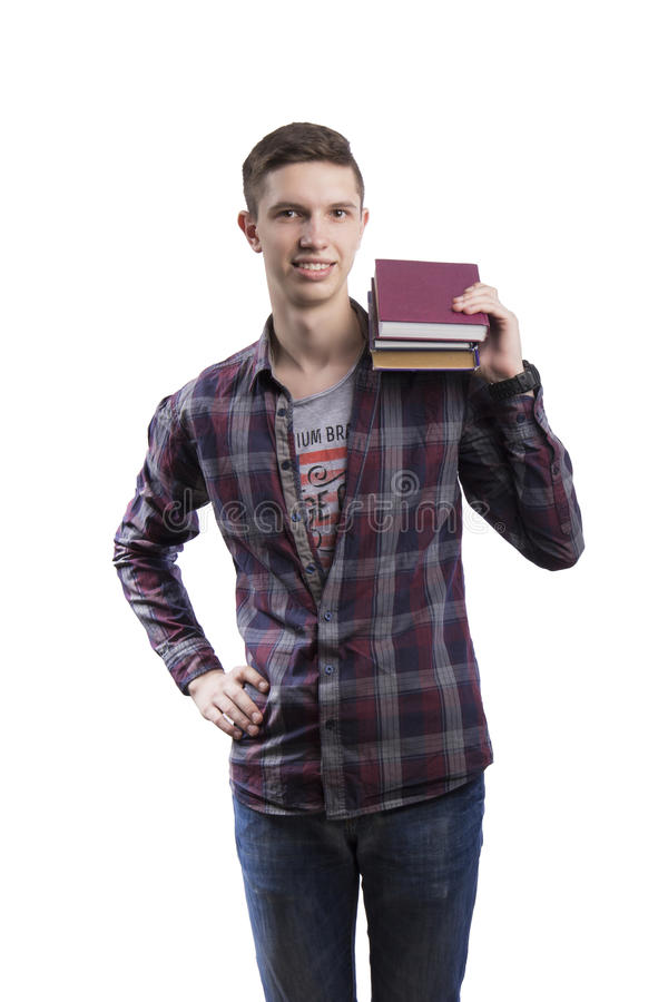 Student smiling book isolated stock photography