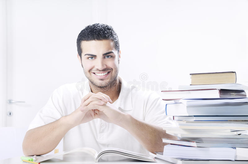 Download Student Smiling With Books On White Background Stock Photo - Image: 19449582