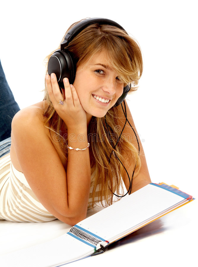 Download Student Smiling While Studying Stock Photo - Image: 7280184