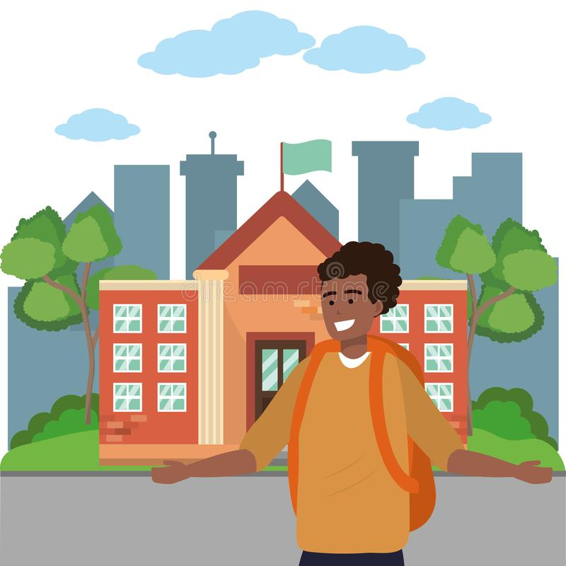 Student smiling and waving on campus background. Student afro student wearing sweater smiling and waving on college or university campus background cityscape royalty free illustration