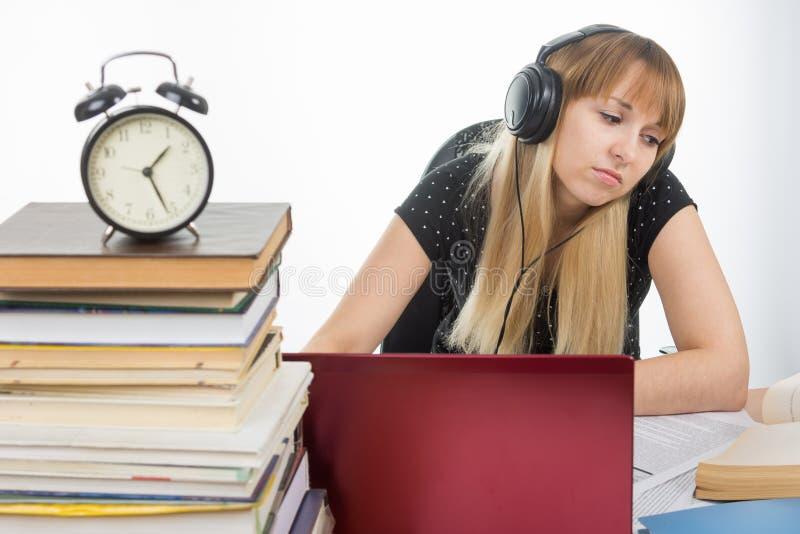 Student som sent studerar på natten som förbereder sig för examen arkivbild