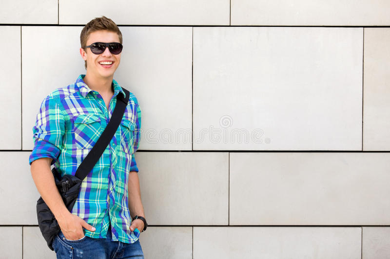 Student Standing Against Wall Stock Images