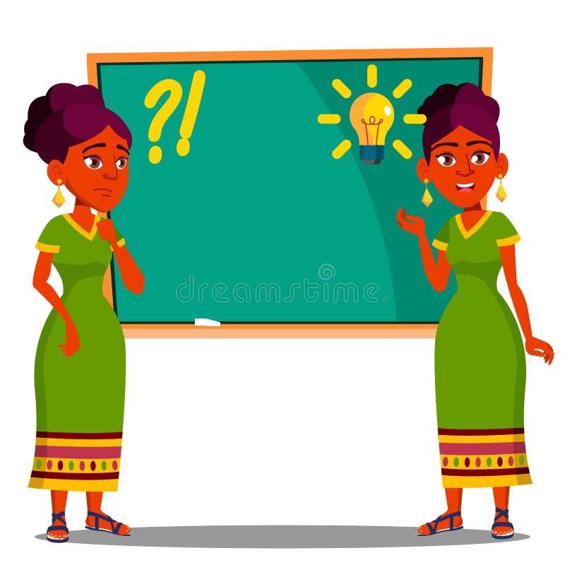Student Standing At Blackboard met Gloeilamp over Zijn Hoofd, Ideevector Geïsoleerdeo illustratie stock illustratie