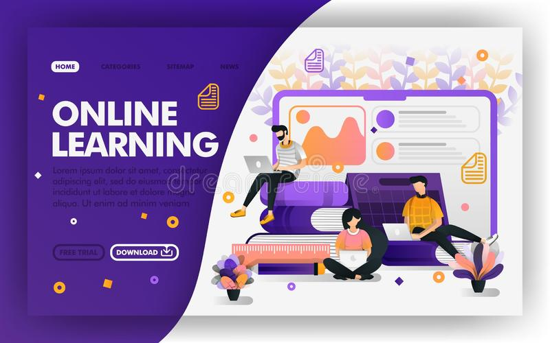 Student studying with internet Vector Web concept, distance learning system, e-learning.  Easy to use for website, banner, landing. Page, brochure, flyer, print royalty free illustration