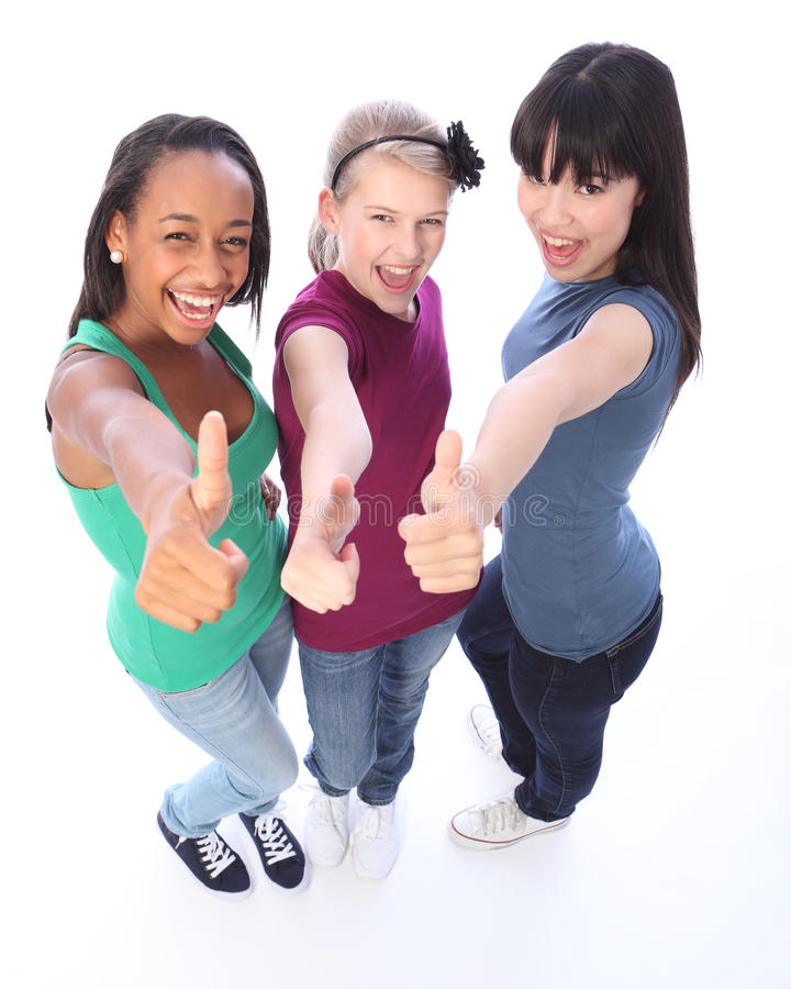 Student success for ethnic teenage girl friends royalty free stock photo