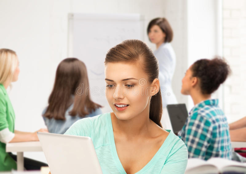 Download Student With Tablet Pc In College Stock Photo - Image: 37966348