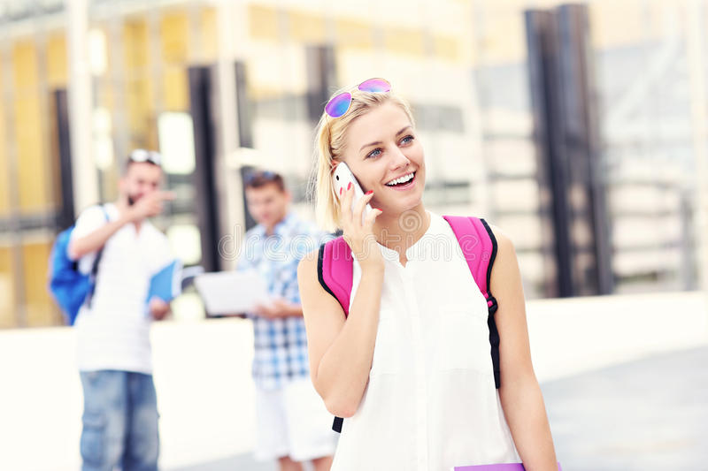 Download Student Talking On The Phone In The Campus Stock Image - Image of caucasian, learning: 42959413
