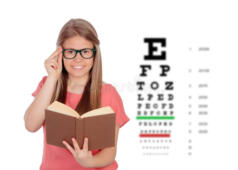 Student teenager girl with glasses royalty free stock image
