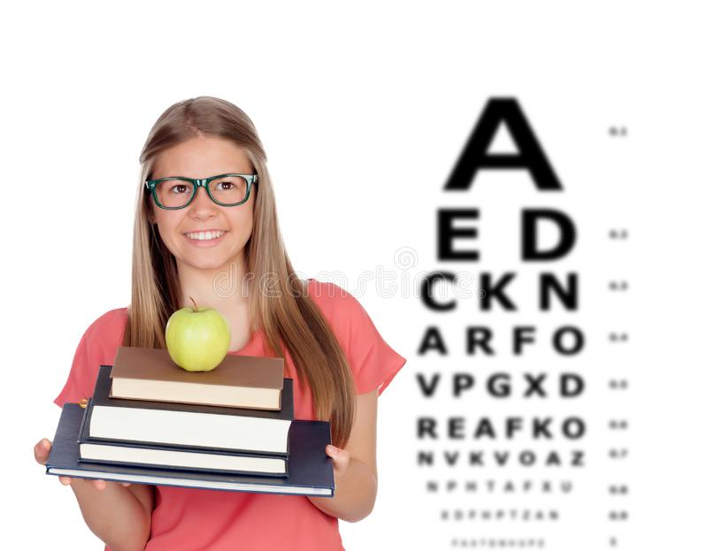 Student teenager girl with glasses stock photo