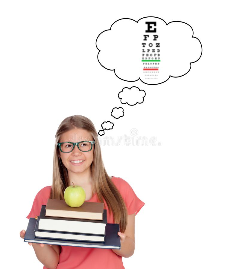 Student teenager girl with glasses stock photos