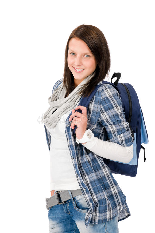 Student Teenager Happy Girl With Schoolbag Royalty Free Stock Image