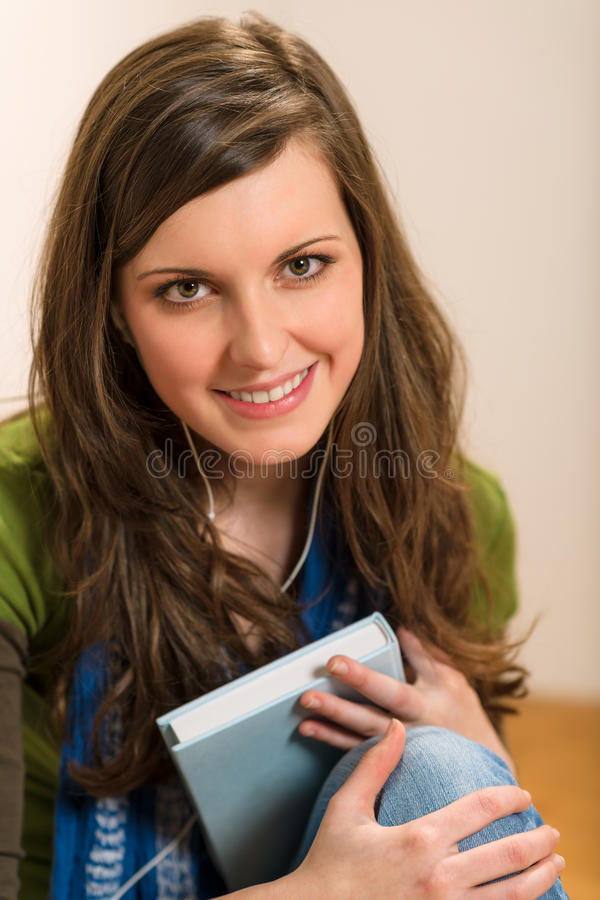 Student Teenager Woman Hold Book Listen Music Royalty Free Stock Image