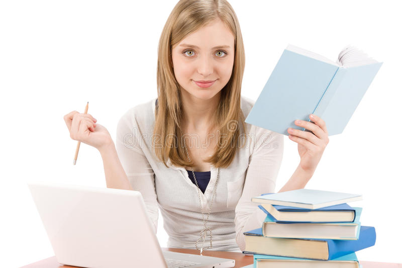 Download Student Teenager Woman With Laptop Book Stock Image - Image: 19406949