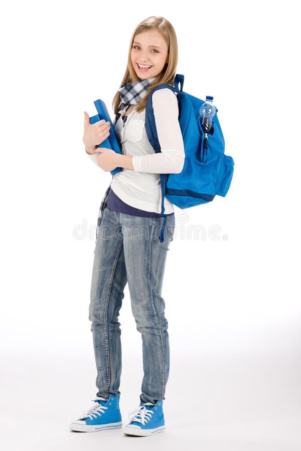 Student teenager woman with schoolbag book. On white royalty free stock photo