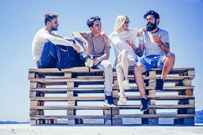 Student time and youth concept. Best friends concept. Group of people smiling. Summertime and friendship concept. Happy royalty free stock images