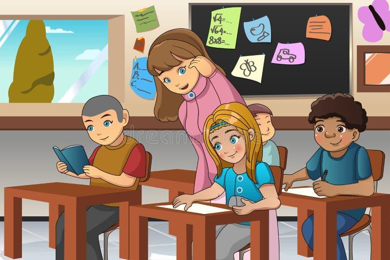 Student und Lehrer im Klassenzimmer lizenzfreie abbildung