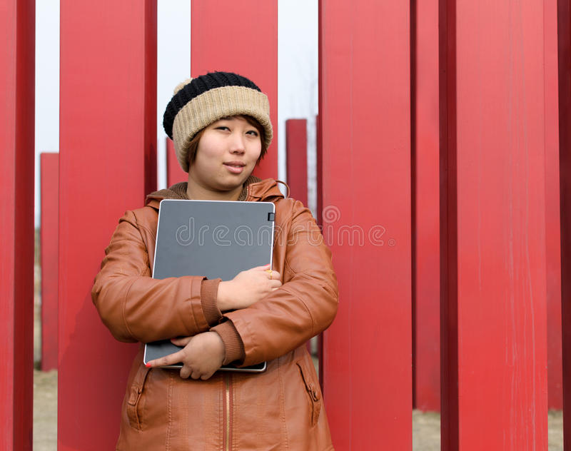 Download Student use computer stock image. Image of smile, girl - 24813995