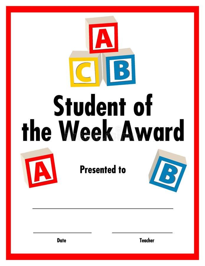 Student van het beschikbare certificaat van de weektoekenning royalty-vrije illustratie