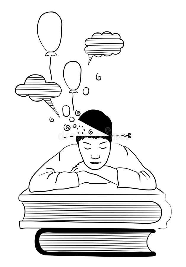 Student van het leren en het slapen op boeken wordt vermoeid dat vector illustratie
