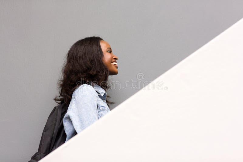 Student walking up royalty free stock image