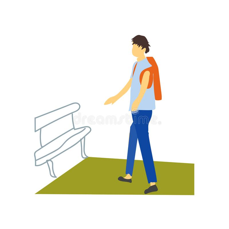 Student walking vector vector sign and symbol isolated on white background, Student walking vector logo concept. Student walking vector vector isolated on white stock illustration