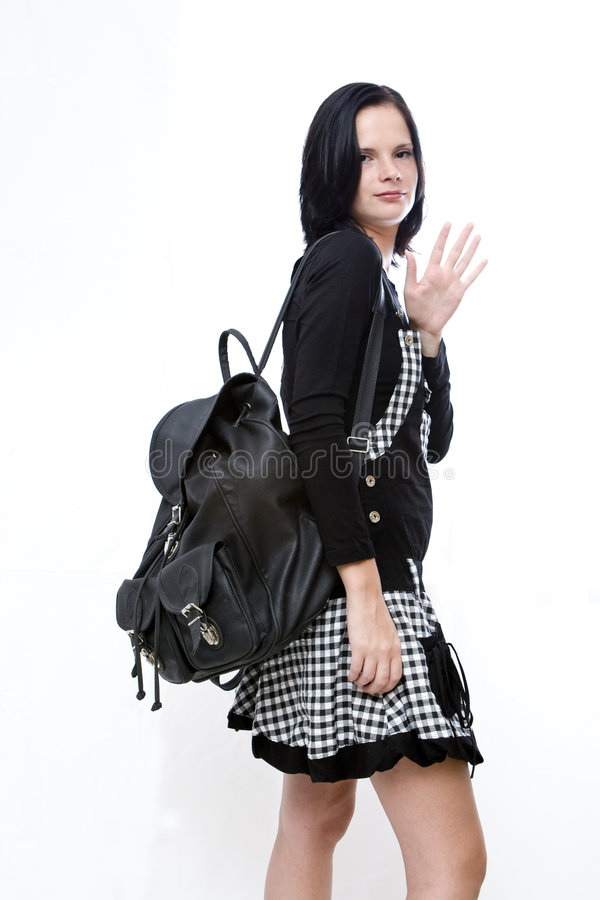 Student Waving goodbye royalty free stock photo
