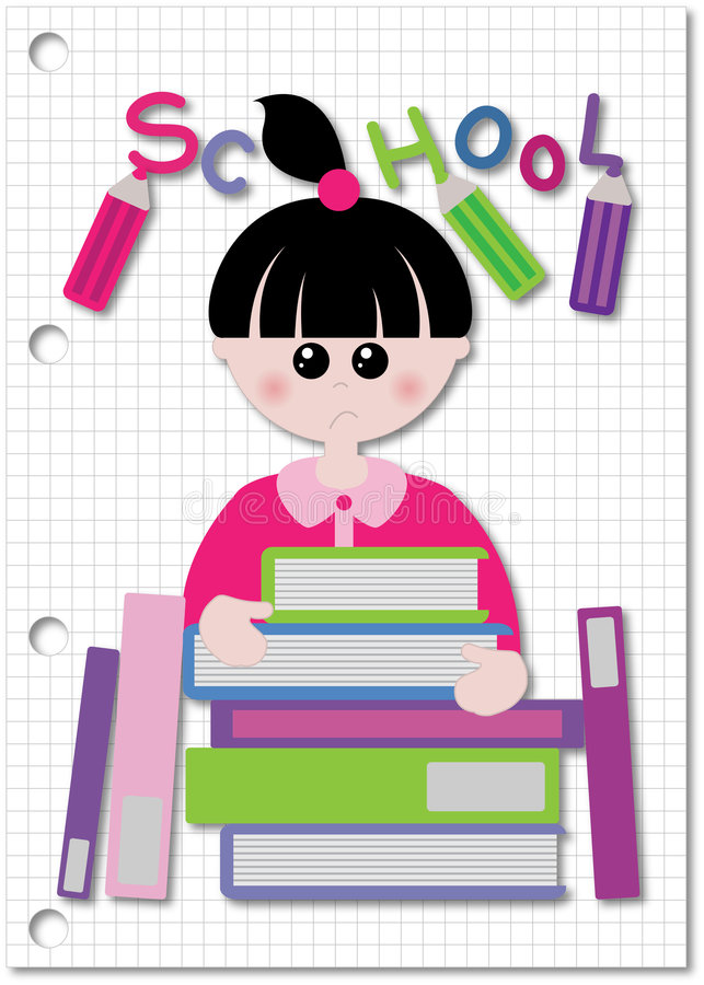 Student and weight of book's stock illustration
