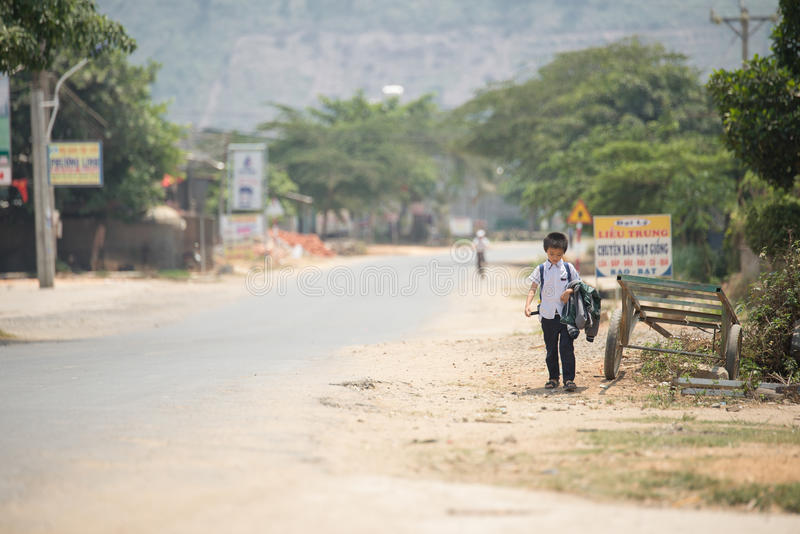 Student were walking come back from school in mui ne royalty free stock images