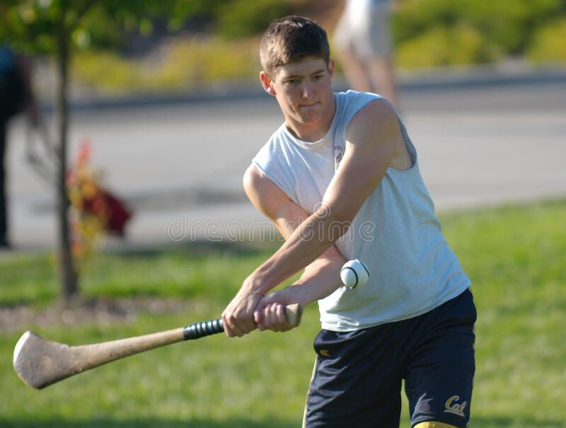 Student In White Shirt Practicing Hurling Hitting Ball 2 Free Public Domain Cc0 Image