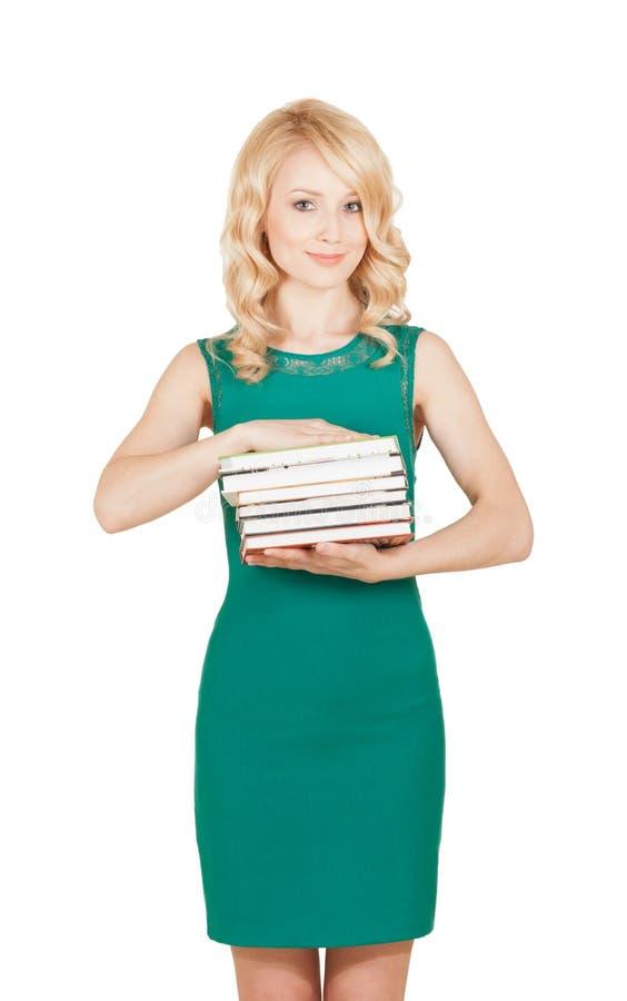 Student Woman Carrying ein Stapel Bücher auf weißem Hintergrund stockfoto