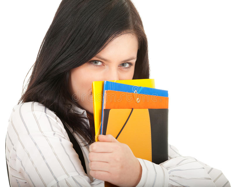 Download Student Woman Covering Face By Note Pad Stock Photo - Image of portrait, attractive: 17296974