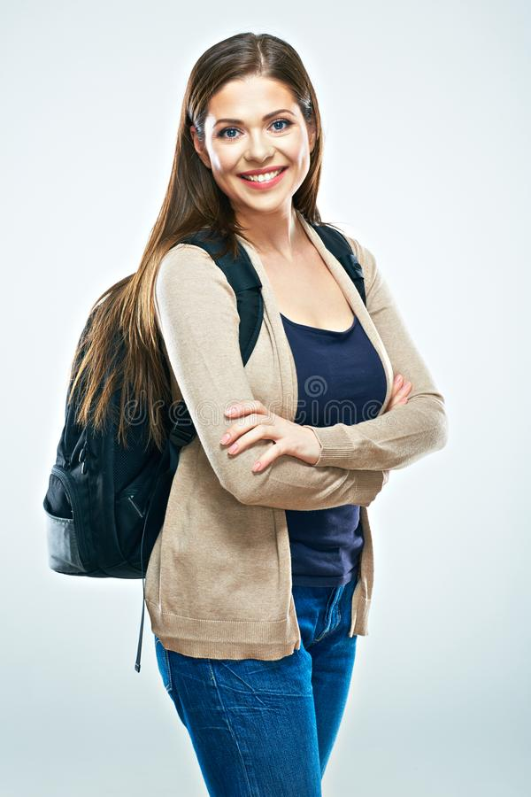 Student woman isolated portrait. Smiling girl stock images
