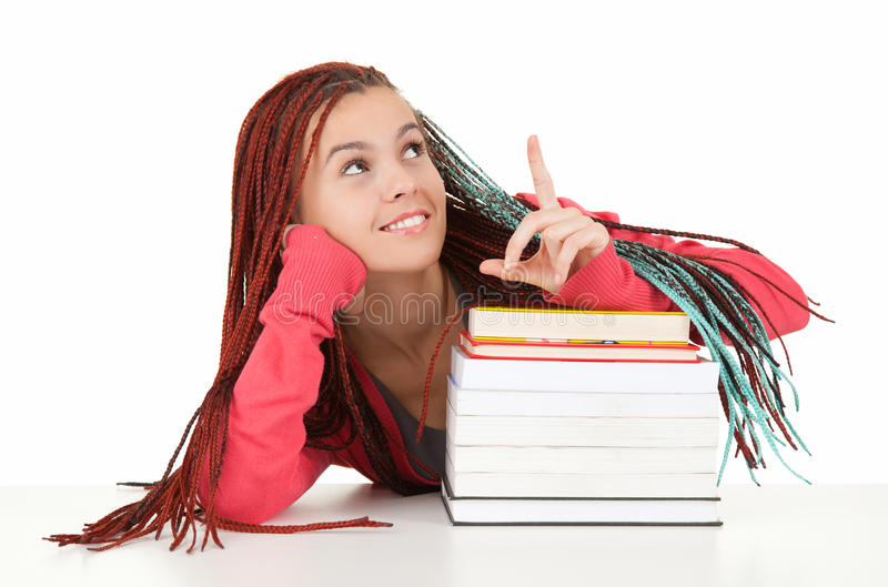 Download Student Woman With Plaits And Books Showing Up Stock Image - Image: 26433523