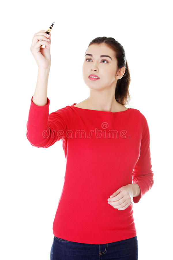 Download Student Woman Writing On Abstract Screen Stock Image - Image: 28393267